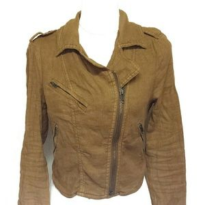 Free People Clay Linen Moto Jacket Side Zip 4